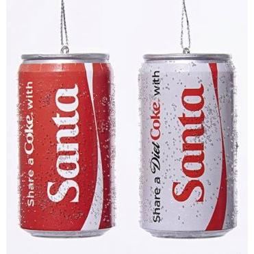 Ornament - Coke/diet Coke Santa Cans