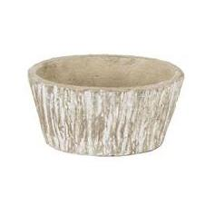 Flower Planter Pot Cement Textured Bark Oval