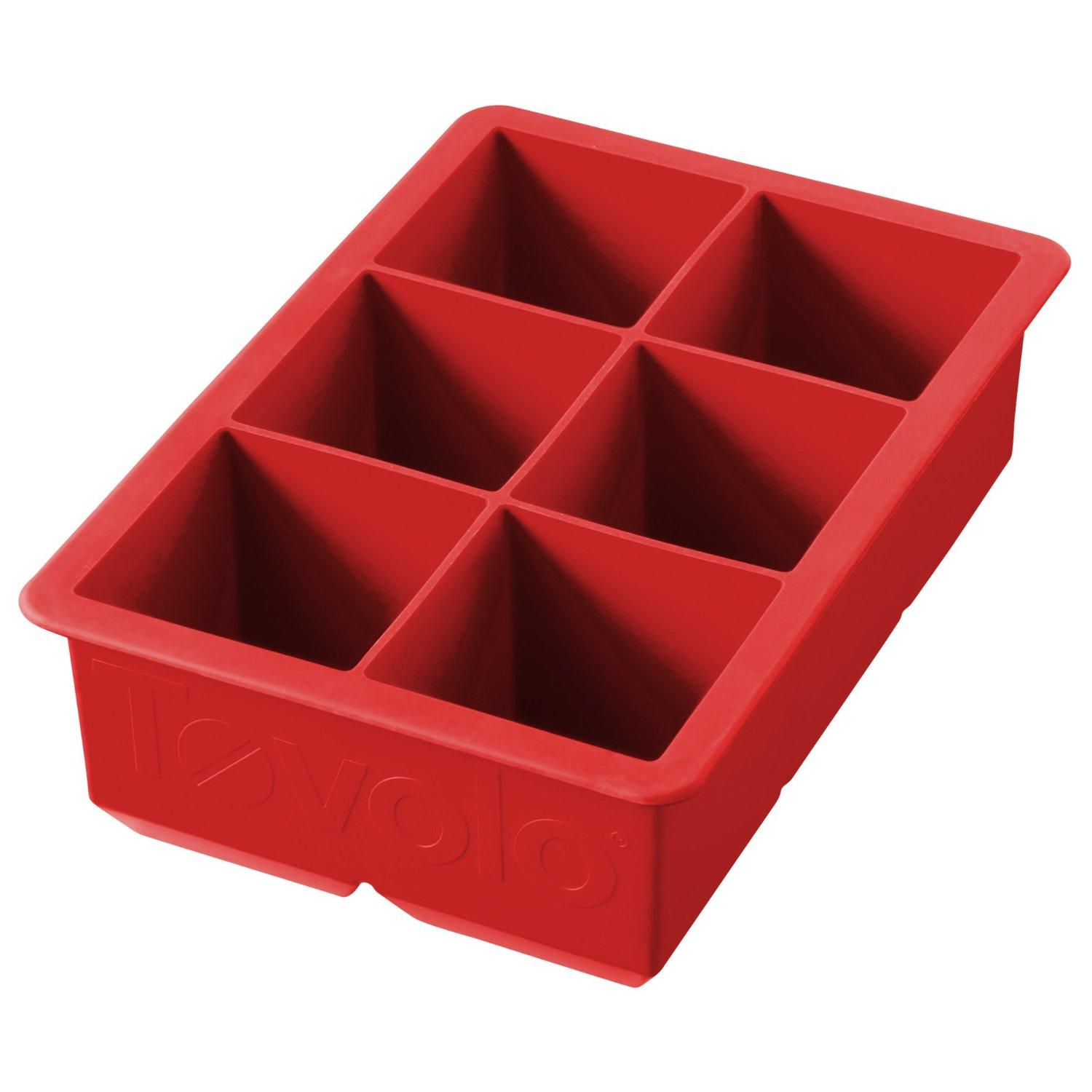 Ice Mold Tray Cube Silicone 6-pocket King Red