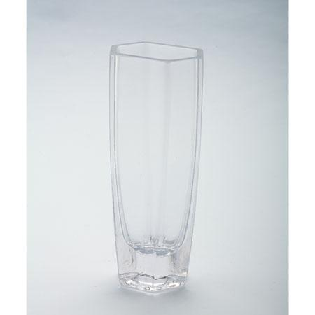 Clear Glass Vase Hexagon 3.5x2.5x8in