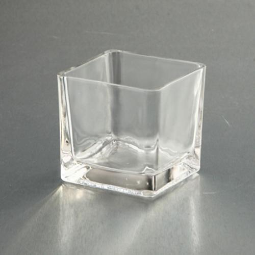 Clear Glass Vase Square 3x3x3in