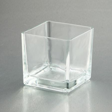Clear Glass Vase Square 4x4x4in