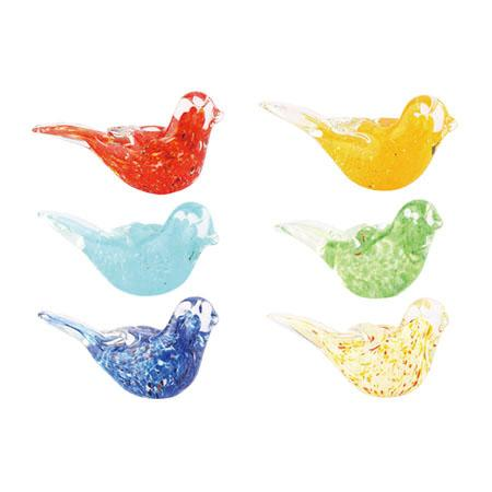 Glass Birds Asst Colors 5x2x2.5in