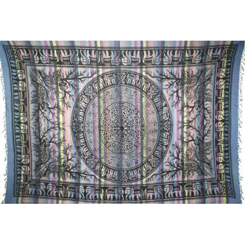 Tapestry Single Size Overprint Elephant Blue
