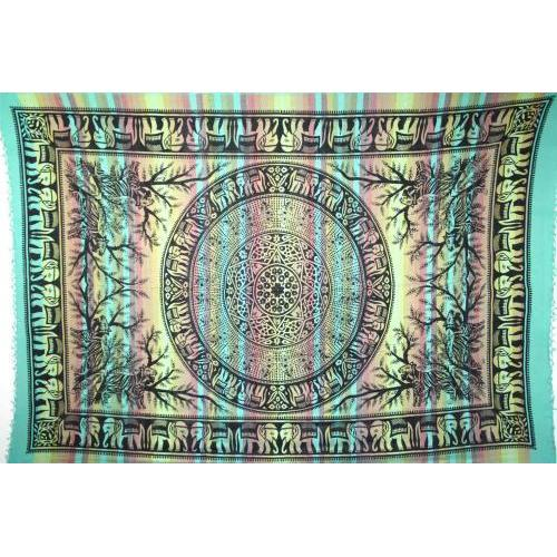 Tapestry Single Size Overprint Elephant Green