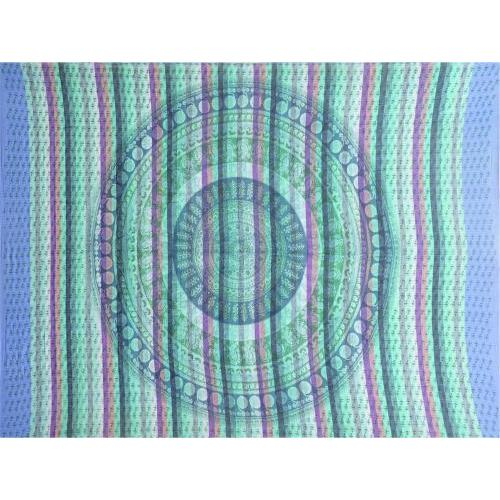 Tapestry Full Size Overprint Circle Bagru Blue
