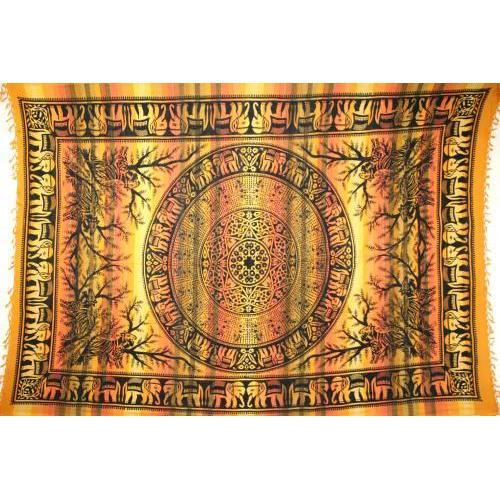 Tapestry Full Size Overprint Elephant Yellow