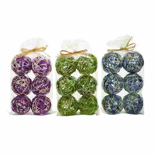 Balls Decorative Natural Bagged Set Of 6 Each Bag Either Green Purple Or Blue Balls 2.99 Each Ball