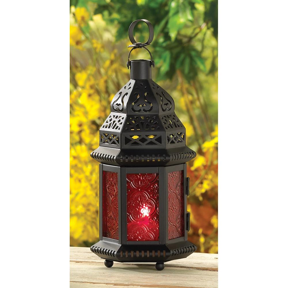 Lantern Moroccan Red Glass