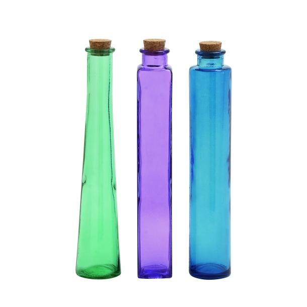 Bottle Colored Glass 2in W X 13in Tall Set Of 3 Colors Shapes Each Bottle 5.99