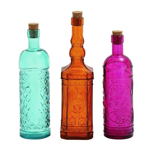 Bottle Glass 11in 10in And 10in Tall Set Of 3 Colors Shapes Each Bottle 5.99