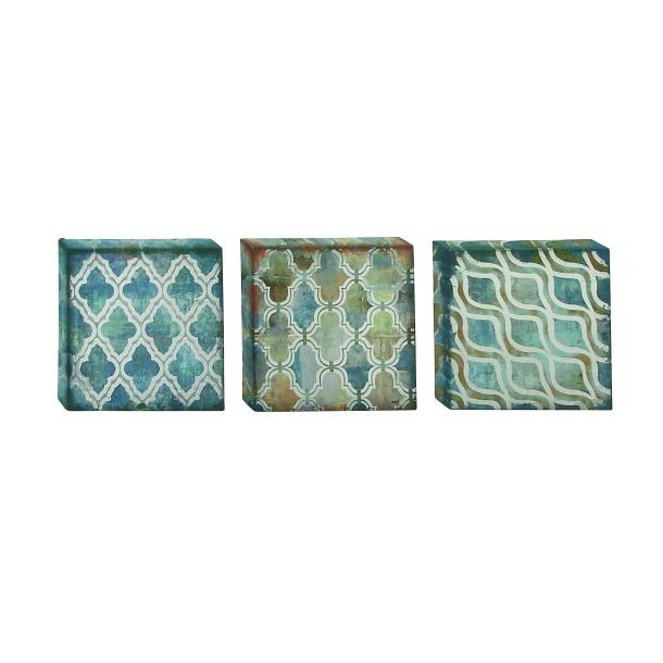 Canvas Art Blue Green Brown Patina Graphics Set Of 3 12in Square Sold Each 8.99