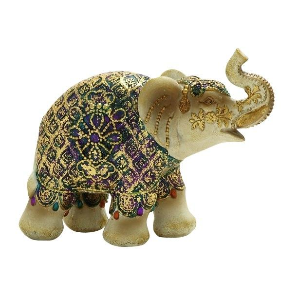 Elephant Polystone Ivory  Gold And Jeweltones 8in Wide X 6in High