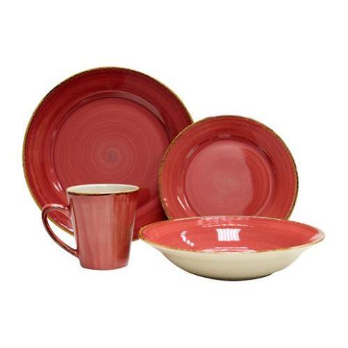 Dinnerware Set Swirl Red-sedona 16 Piece Set