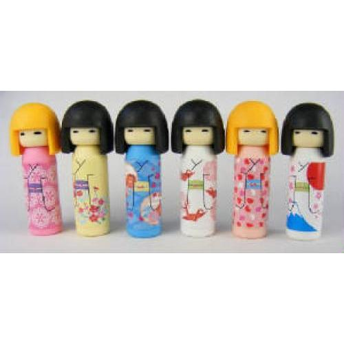 Eraser Doll Kokeshi With Black Hair 4 Assorted Kimonos
