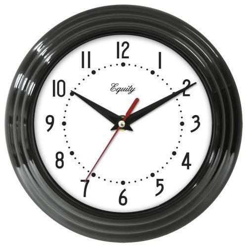 "Wall Clock Analog Equity 8"" Face-white Frame-black"