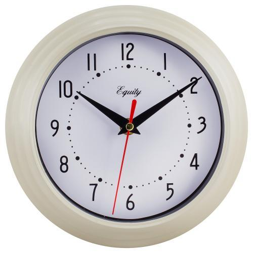 Wall Clock  Analog Equity 8� Face-white Frame-cream-almond