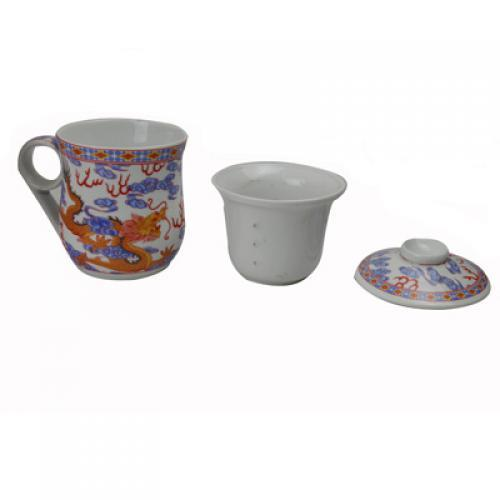 Tea Cup With Infuser And Lid Assorted Designs