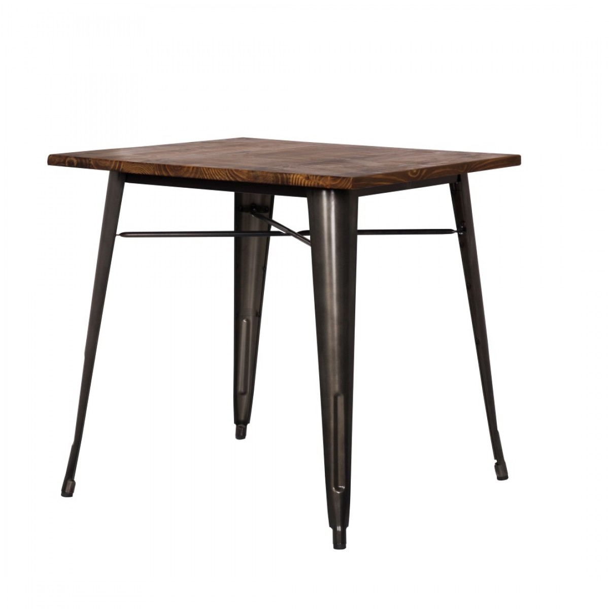 Metropolis Wood Top Dining Table 30in X 30in Gunmetal