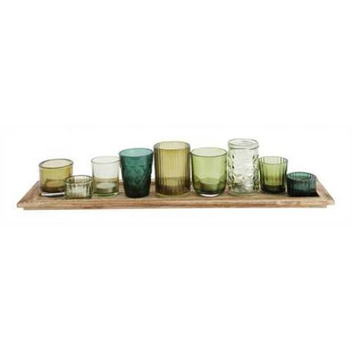 Candlescaping Set Wood Tray 22in Long X 5.5in Wide With 9 Assorted Greentoneglass Votive Holders