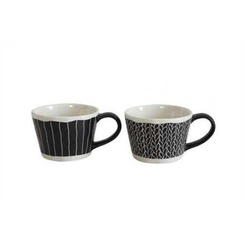 Dinnerware Stoneware Handpainted Black & Cream Mug 3in 2 Styles