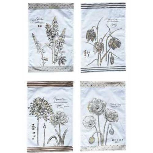 Dishtowel Tea Cotton Floral Images 4 Styles 28in X 18in