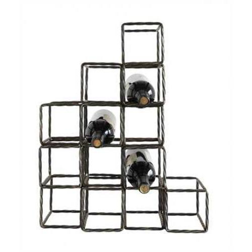 Wine Bottle Rack Metal Block Shaped 13 Bottle 16.75in Long X 8.25 Wide X 20.75in High