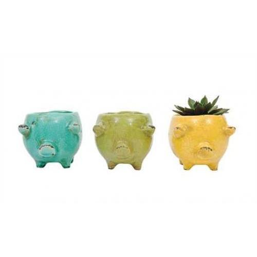 Flower Planter Pot Terracotta Pig 3 Colors 6in