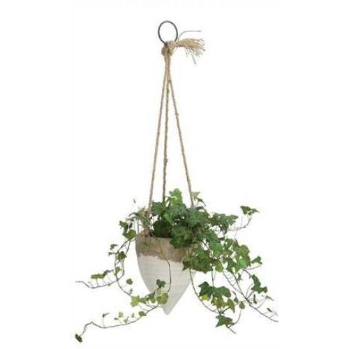 Flower Planter Pot Hanging With Jute Rope White 6.5x5in