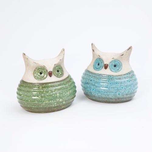 Owl Terracotta Blue Or Green 2 Assorted 7.7in Long