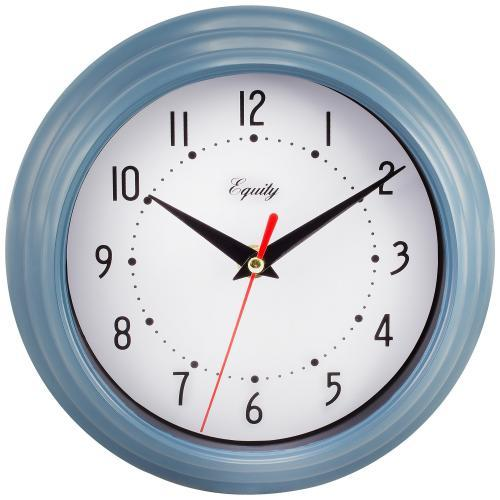 Wall Clock Analog Equity 8� Face-white Frame-blue