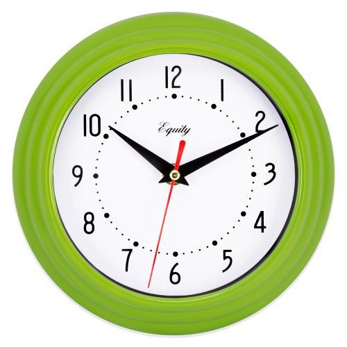 Wall Clock Analog Equity 8� Face-white Frame-green