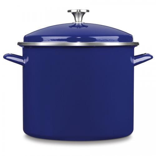 Cookware Stockpot Enamel On Steel 12qt W/insert Blue