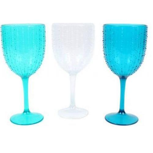 Drinkware Acrylic Wine Goblet Embossed-urchin Assorted Blues