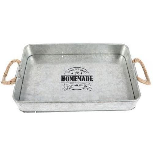 Serving Tray Metal-galvenized With Rope Handles Homemade