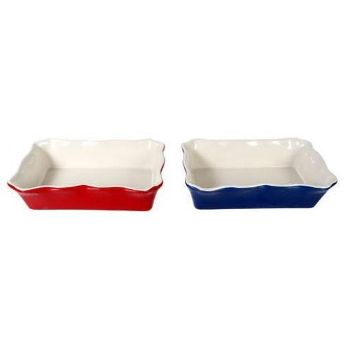 Bakeware Stoneware Dish Ruffle Casserole 8x5in Red Or Blue