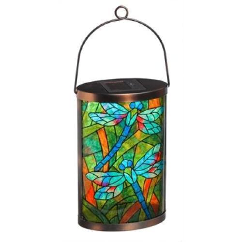Outdoor - Lighting Lantern Solar Oval Tiffany Inspired Dragonfly