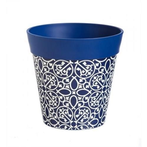 Flower Planter Pot Vinyl \'hum Pot\' Blue Lattice