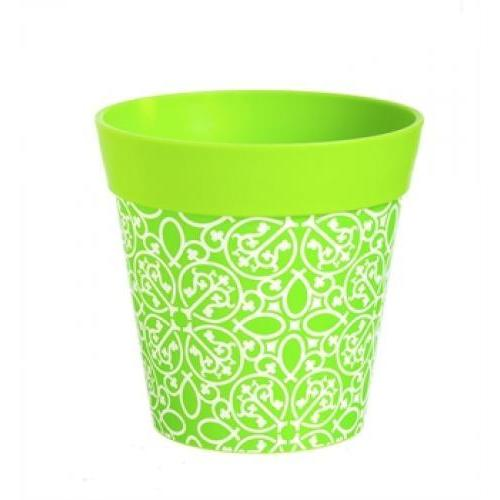Flower Planter Pot Vinyl \'hum Pot\' Green Lattice