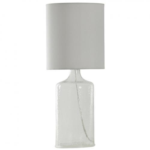 Seeded Glass Table Lamp White Tint 21.5 In Tall With White Linen Shade