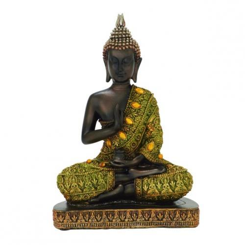 Buddha Polystone Gold Inlay 6in W X 9in H