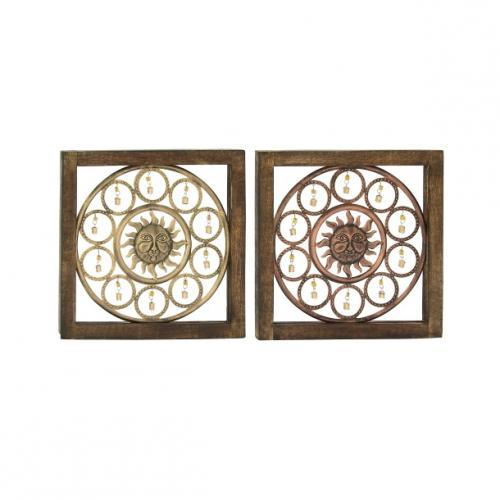 Wall Art Wooden Sun And Bells 17in Square 2 Assorted