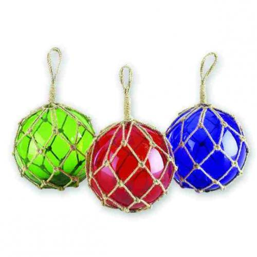 Garden Decorative Glass Jute Float 6in Diameter 3 Assorted Styles