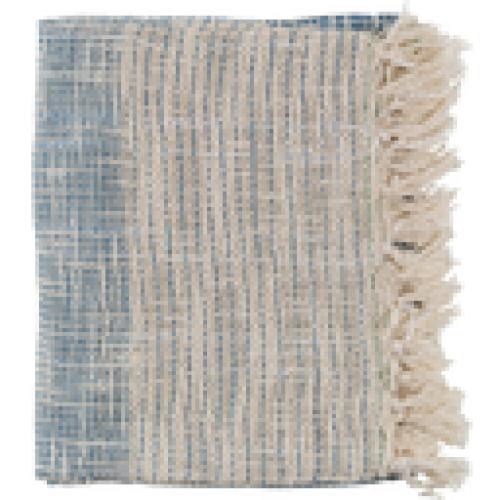 Kymani Throw Blanket 50x60 Dark Blue And Cream