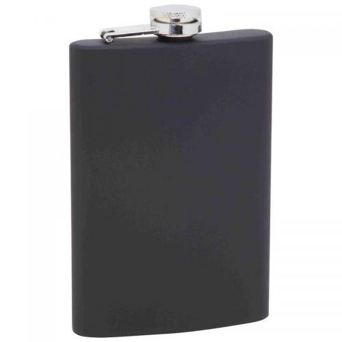 Travel Hip Flask Stainless Steel Black-matte Wrap  8oz