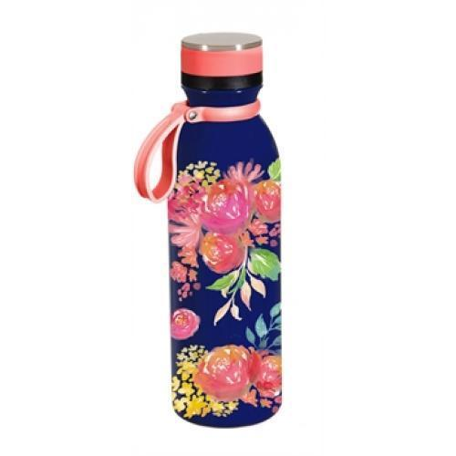 Water Bottle Stainless Steel With Loop Graphic-floral Garden Blue