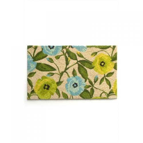 Doormat Coir Flowers Blue/green