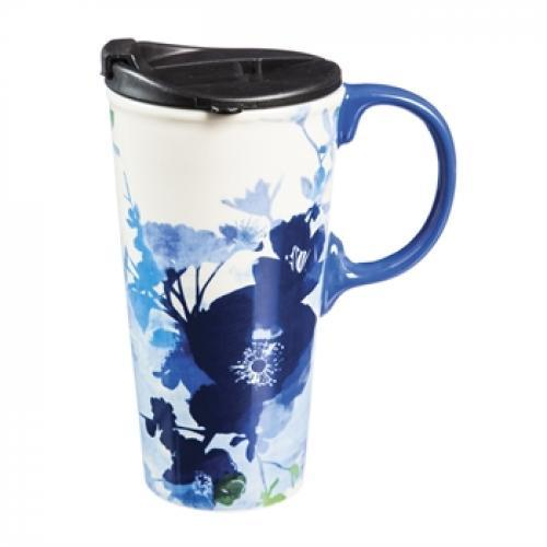Travel Tumbler Mug-handled Ceramic 17oz Graphic-bella Blue