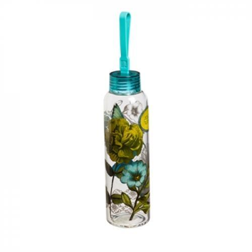 Water Bottle Glass With Loop Decal 18oz Graphic-alluring Aviary
