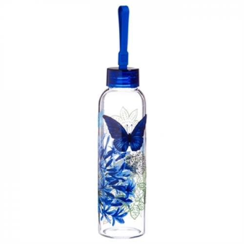 Water Bottle Glass With Loop Decal 18oz Graphic-blue Floral